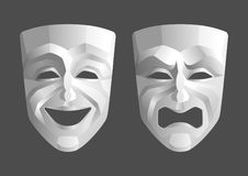 Tragicomic Theater Masks. Comedian and tragedy rotesque masks royalty free illustration