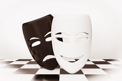 Tragicomic Theater Masks. Sad and Smile masks Stock Images
