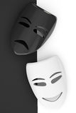Tragicomic Theater Masks. Sad and Smile masks Stock Photography