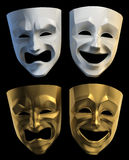 Tragicomic Theater Masks. Set of tragedy and comedy grotesque masks. 3D rendered images isolated on black background royalty free illustration