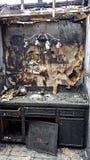 Tragiskt sent - natthusbrand Arkivbild