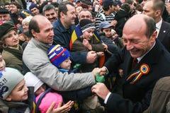 Traian Basescu au jour national de la Roumanie Photo stock