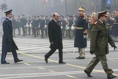 Traian Basescu au jour national de la Roumanie Images stock