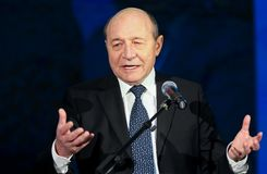 Traian Basescu - Europaparlamentetval - Rumänien arkivbild
