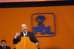 Traian Basescu Holding a Speach. Traian Basescu, Romanian President, holding a Speach during the PDL political party extraordinary congress, Bucharest, 23rd Royalty Free Stock Photography