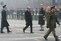 Traian Basescu at National Day of Romania Stock Images