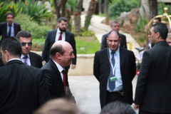 Traian Basescu, President of Romania. And Nicos Anastasiades, Candidate for President of Cyprus, meet at the special summit of the leaders of the right-centrist stock images