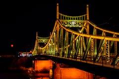 Traian Bridge Arad, foto da noite de Romênia Fotografia de Stock Royalty Free