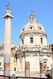 Traian column and Santa Maria di Loreto Stock Photo