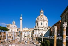 Traian column and Santa Maria di Loreto Royalty Free Stock Photography