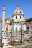 Traian column and Santa Maria di Loreto in Rome Stock Images