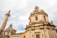 Traian column and Santa Maria di Loreto in Rome Stock Image
