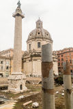 Traian column and Santa Maria di Loreto in Rome Royalty Free Stock Photography