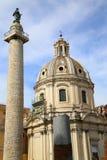 Traian column and Santa Maria di Loreto in Rome, Italy Stock Photo
