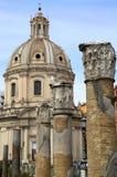 Traian column and Santa Maria di Loreto in Rome, Italy Royalty Free Stock Images