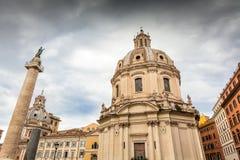 Traian column and Santa Maria di Loreto in Rome, Italy Stock Photography