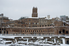 Traiano's Market in Rome under snow. This picture was taken february 4th 2012, after one of the heaviest snowfall in Rome since 1985. This is the historic center Stock Image