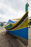 Traditional Maltese Luzzu. A traditional Maltese Luzzu at the Marsaxlokk fishing village Royalty Free Stock Image