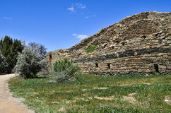 The Trail of Abandoned Roofless Rooms at Aztec Ruins. Trail next to roofless rooms at Aztec Ruins National Monument, a World Heritage Site on a beautiful sunny Stock Photo