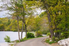 Trail along Hessian Lake, at Bear Mountain State Park, New York.  royalty free stock photography