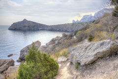 Trail along the hillside. HDR Stock Photo