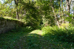Trail along the monastery wall in Glindfeld Stock Photos