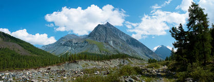 The trail along the river Akkem. Trekking in the Altai Mountains Royalty Free Stock Photo