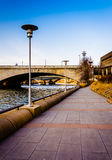 Trail along the Schuylkill River in Philadelphia, Pennsylvania. Royalty Free Stock Image