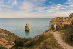 Trail of the Arch on beach Marinha, Portugal. Stock Photography