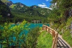 Trail around Braies Lake Stock Image