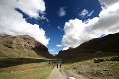 Trail around Mount Gang Rinpoche (Kailash) Royalty Free Stock Photography