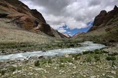 Trail around Mount Gang Rinpoche (Kailash). Trail and river around Mount Gang Rinpoche (Kailash) tibetan plateau Stock Image