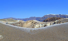 Volcanic crater trail Santorini Stock Image