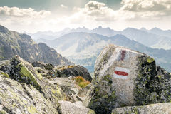 Trail in beautiful mountains Stock Images