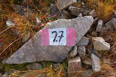Trail blazing. Hiking sign, number 27 royalty free stock photos