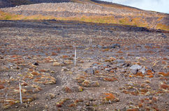 Trail blazing on Tongariro Alpine Crossing Royalty Free Stock Photos