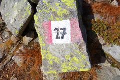 Trail blazing. Hiking sign, number 27 royalty free stock images