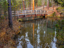 Trail Bridge. Footbridge over the Fall River at Fall River Campground near Sunriver, OR stock photography