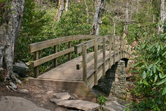 Trail Bridge. A wooden trail bridge arches over a stream in the woods Royalty Free Stock Image