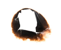 Trail of burnt paper on white background.  Stock Images