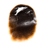 Trail of burnt paper on white background.  Stock Photos
