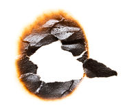 Trail of burnt paper on white background.  Royalty Free Stock Photos