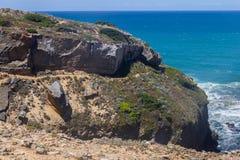 Trail in the Cliffs on the beach,  Vila Nova de Milfontes. Alentejo, Portugal Stock Images