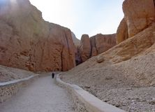 Trail between cliffs at the valley of the kings Stock Images