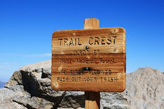 Trail Crest Sign. At thirteen thousand six hundred feet on the way up Mount Whitney Stock Image