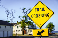 Trail crossing sign. Close-up image of a trail crossing sign Stock Photos