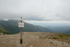 Trail direction signs on Kondracka Kopa pass. Royalty Free Stock Image