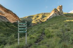 Trail and directional sign in the mountains at Golden Gate Stock Image