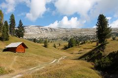 Trail in the Dolomites Mountain Range, Italy Royalty Free Stock Photography
