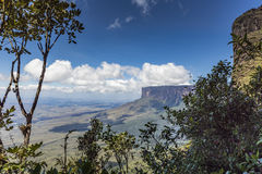 Trail down from the plateau Roraima passes under a falls - Venez Stock Photos